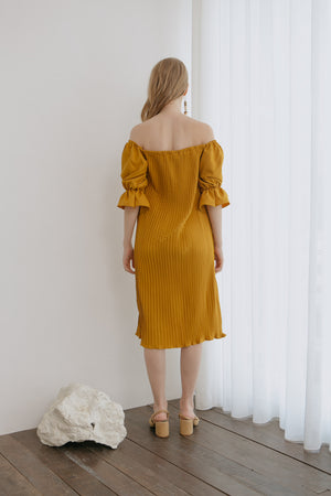 Lauren Mustard Pleats Dress