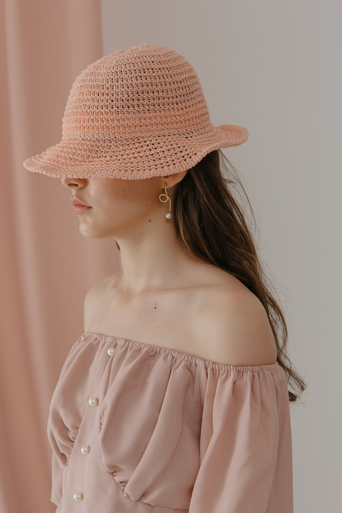 Load image into Gallery viewer, Rattan Coral Beach Hat