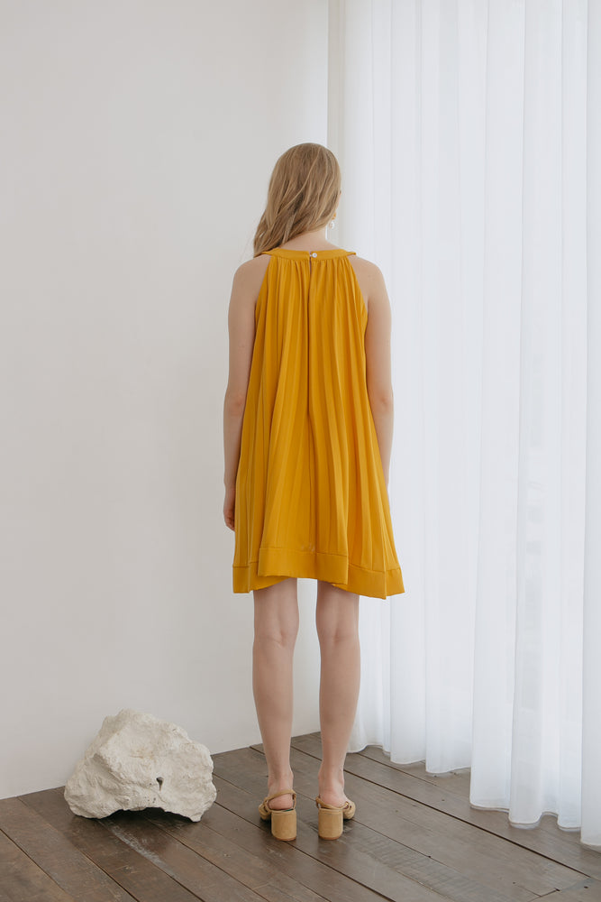 Minali Pleats Yellow Dress