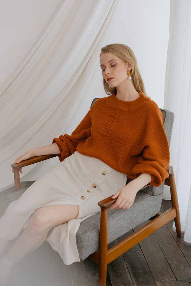 Ereyna Orange Knit Sweater