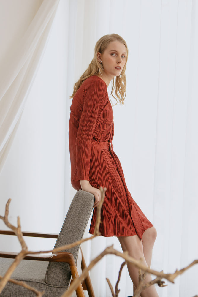 Keane Red Pleats Dress