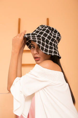 Black Square Bucket Hat