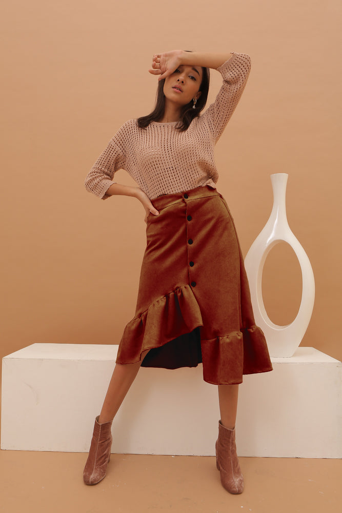 Carissa Brown Flare Suede Skirt