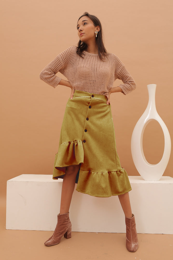 Load image into Gallery viewer, Carissa Mustard Suede Flare Skirt