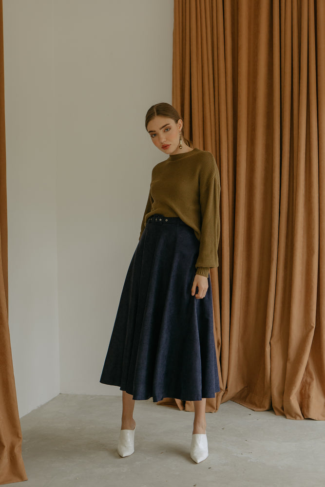 Load image into Gallery viewer, Roxette Navy Maxi Skirt