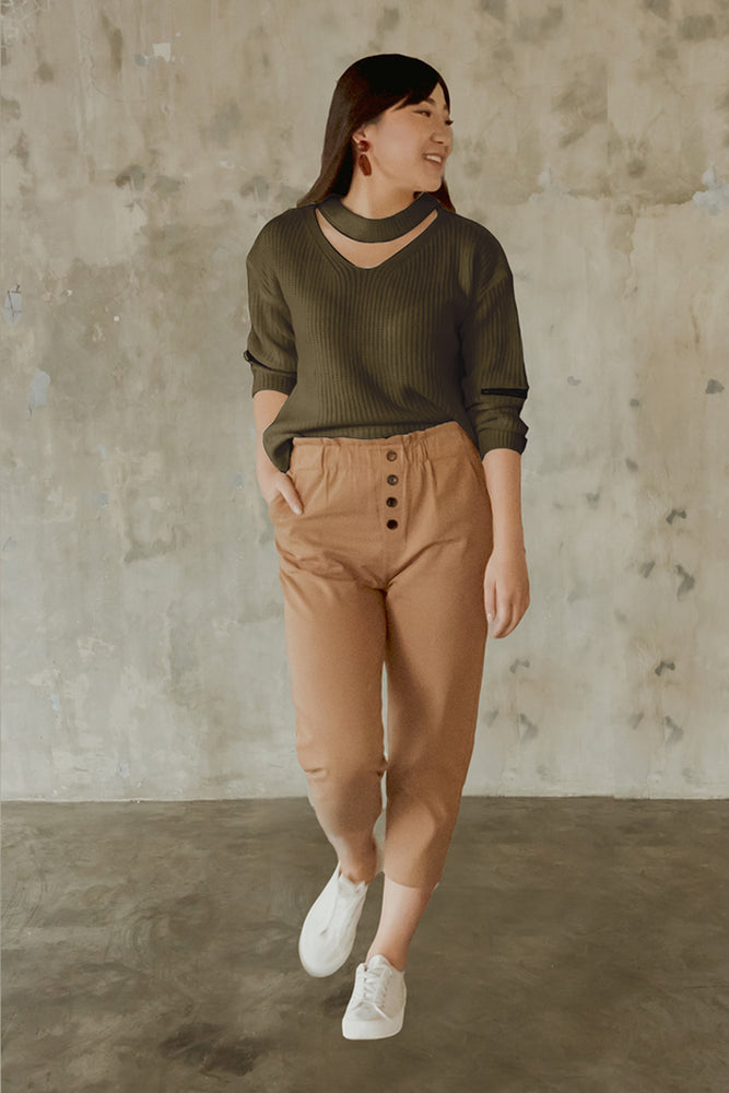 Load image into Gallery viewer, Armin Olive Crop Top
