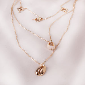 Gold Shell Double Necklace