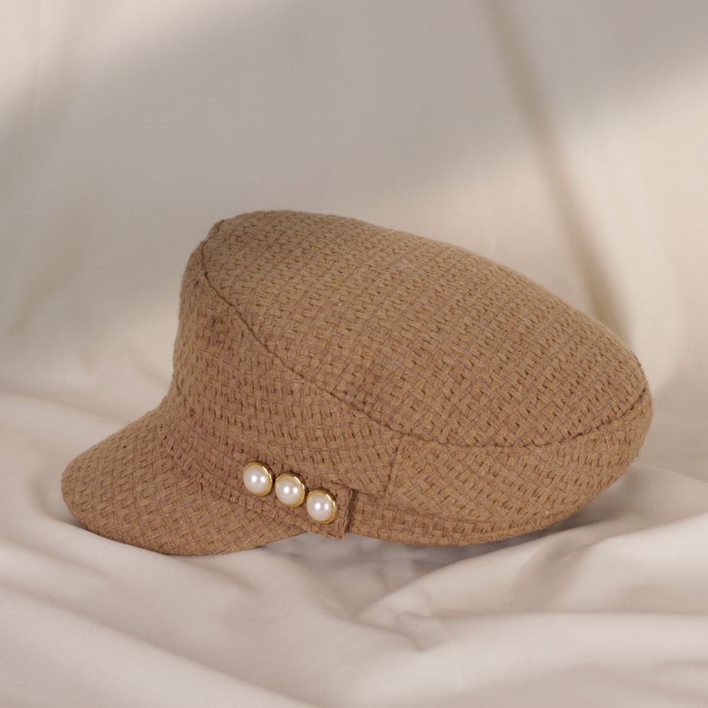 Side Pearl Brown Military Hat