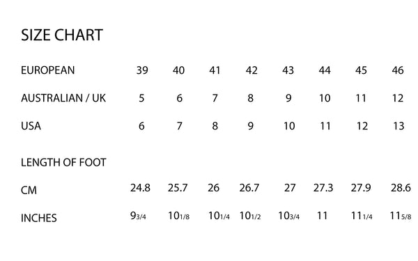 Size Chart for Matador Shoes