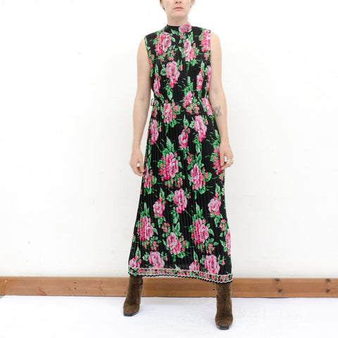 1970's Sheer Floral Pleat Dress