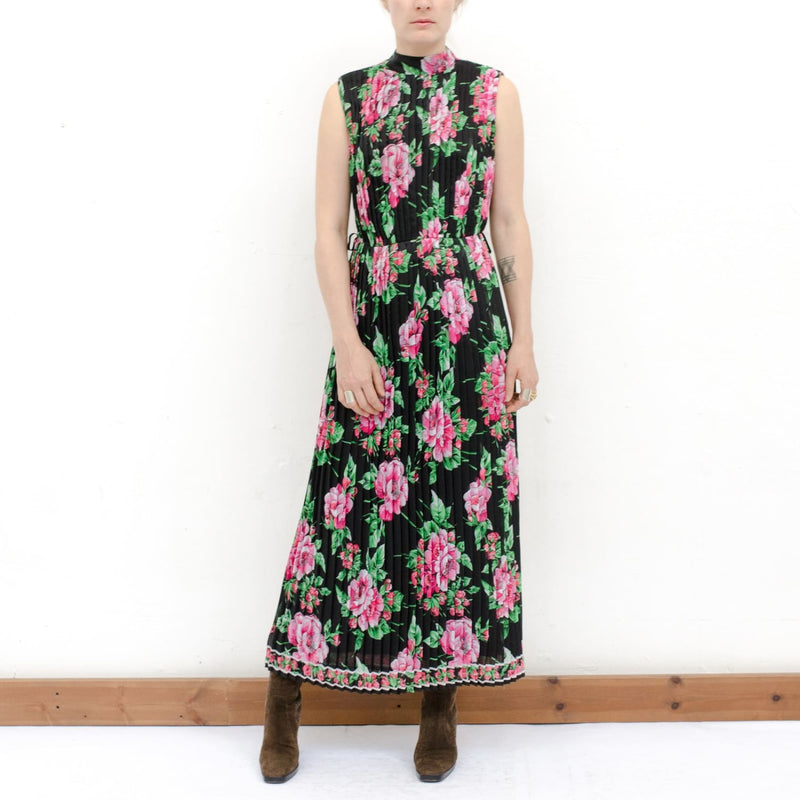 1970S Sheer Floral Pleat Dress