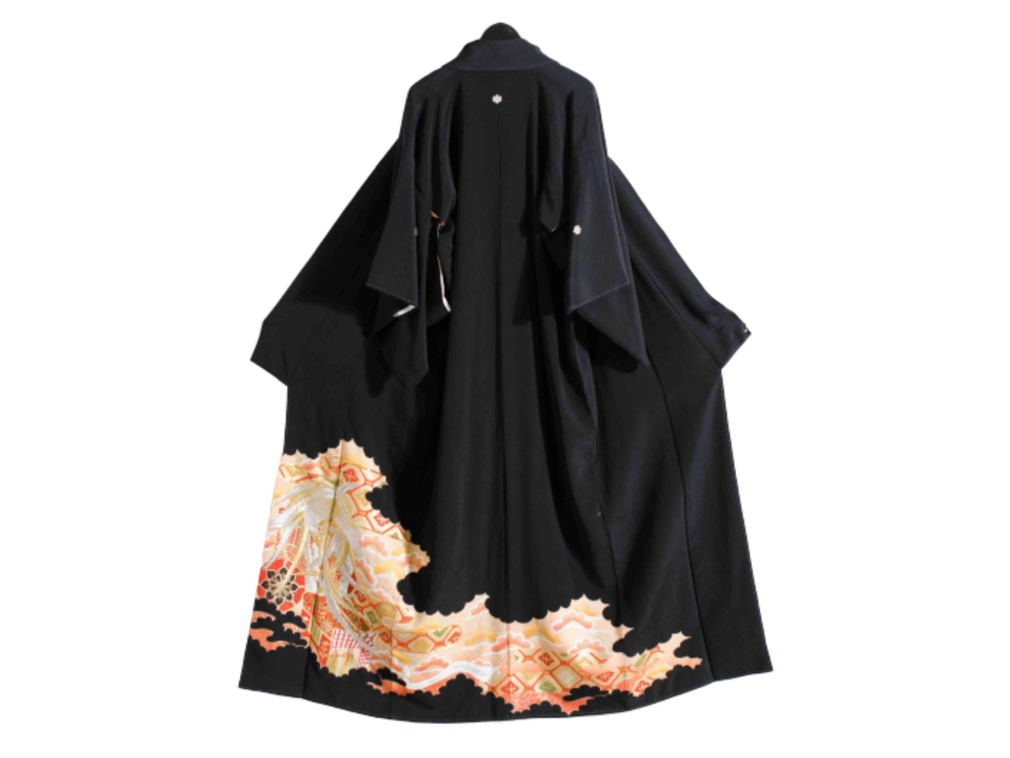 Embroidered Black Silk Kimono Robe