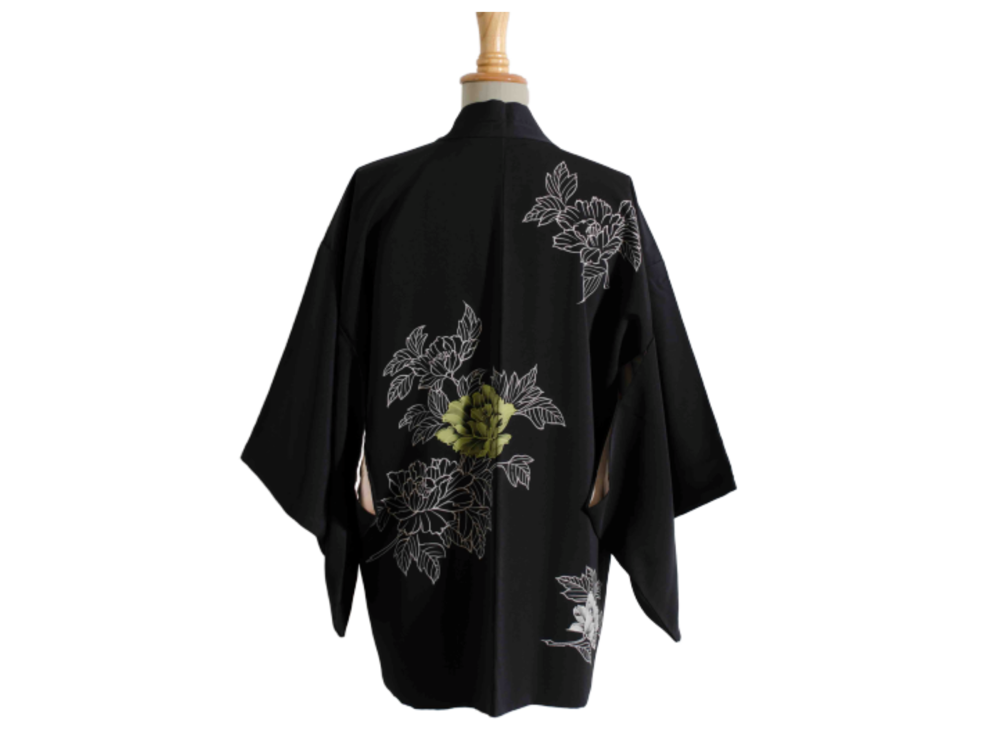 Black Silk Haori with Hand-painted Floral Details