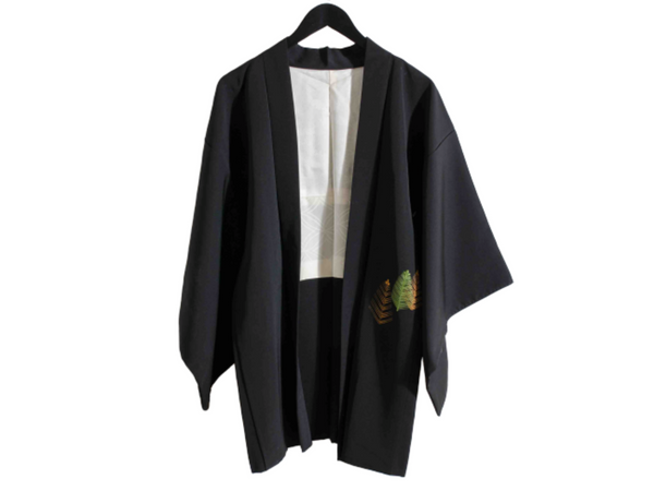 Simple Black Silk Kimono Jacket with Floral Embroidery