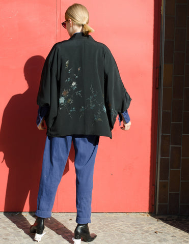 Black Silk Kimono Jacket with Floral Embroidery