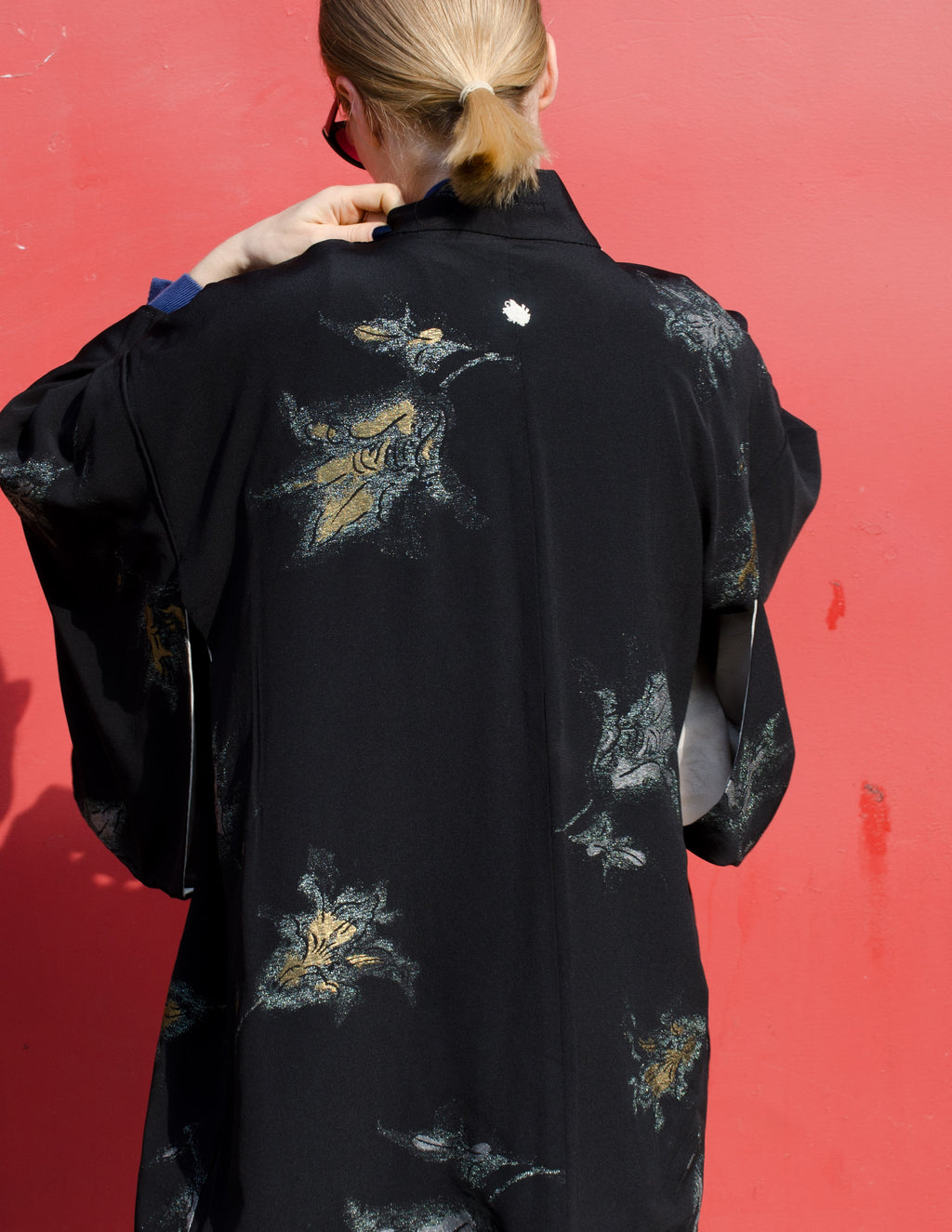 Black Silk Haori with Metallic Details
