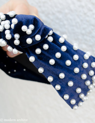 Pearl Studded Blue Velvet Headband