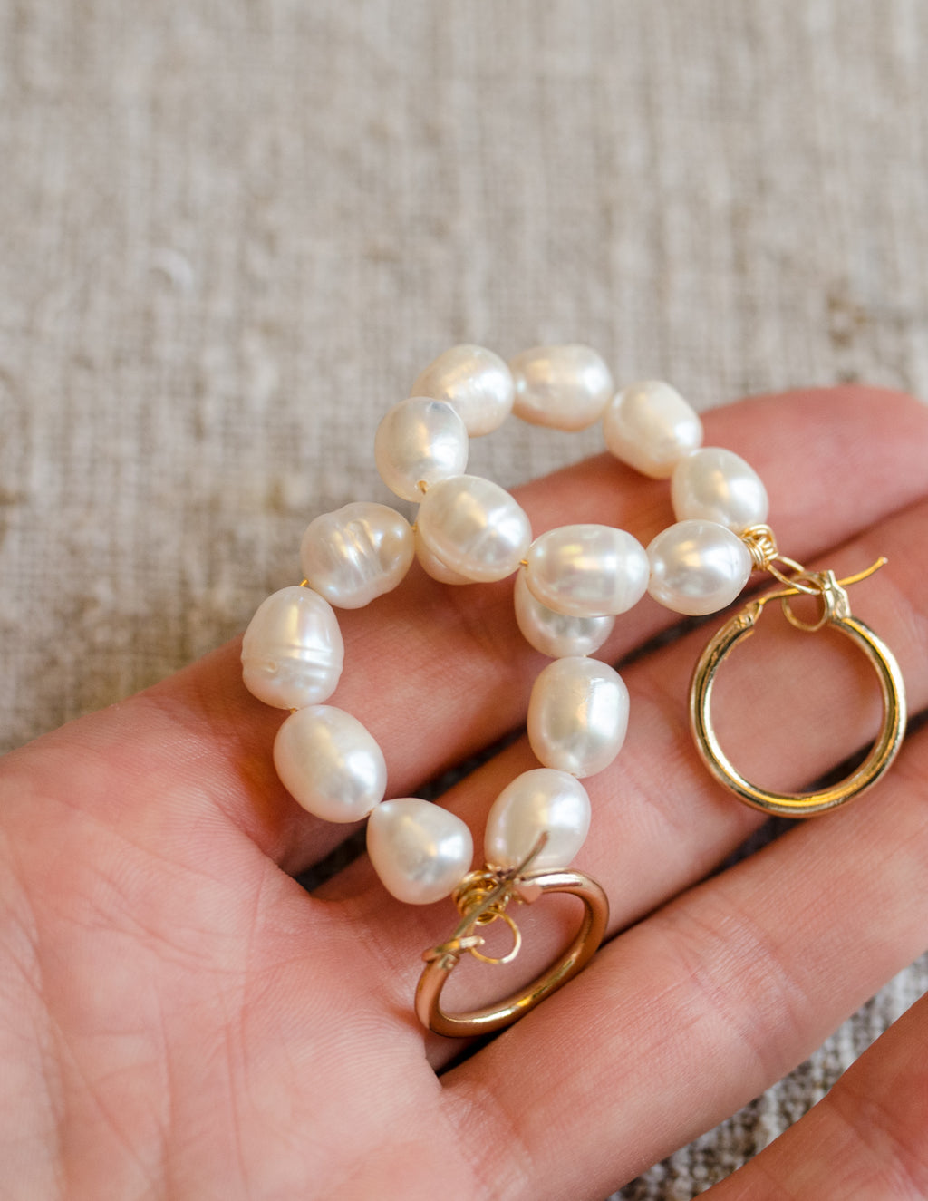 Fresh Water Pearl Hoop Earrings