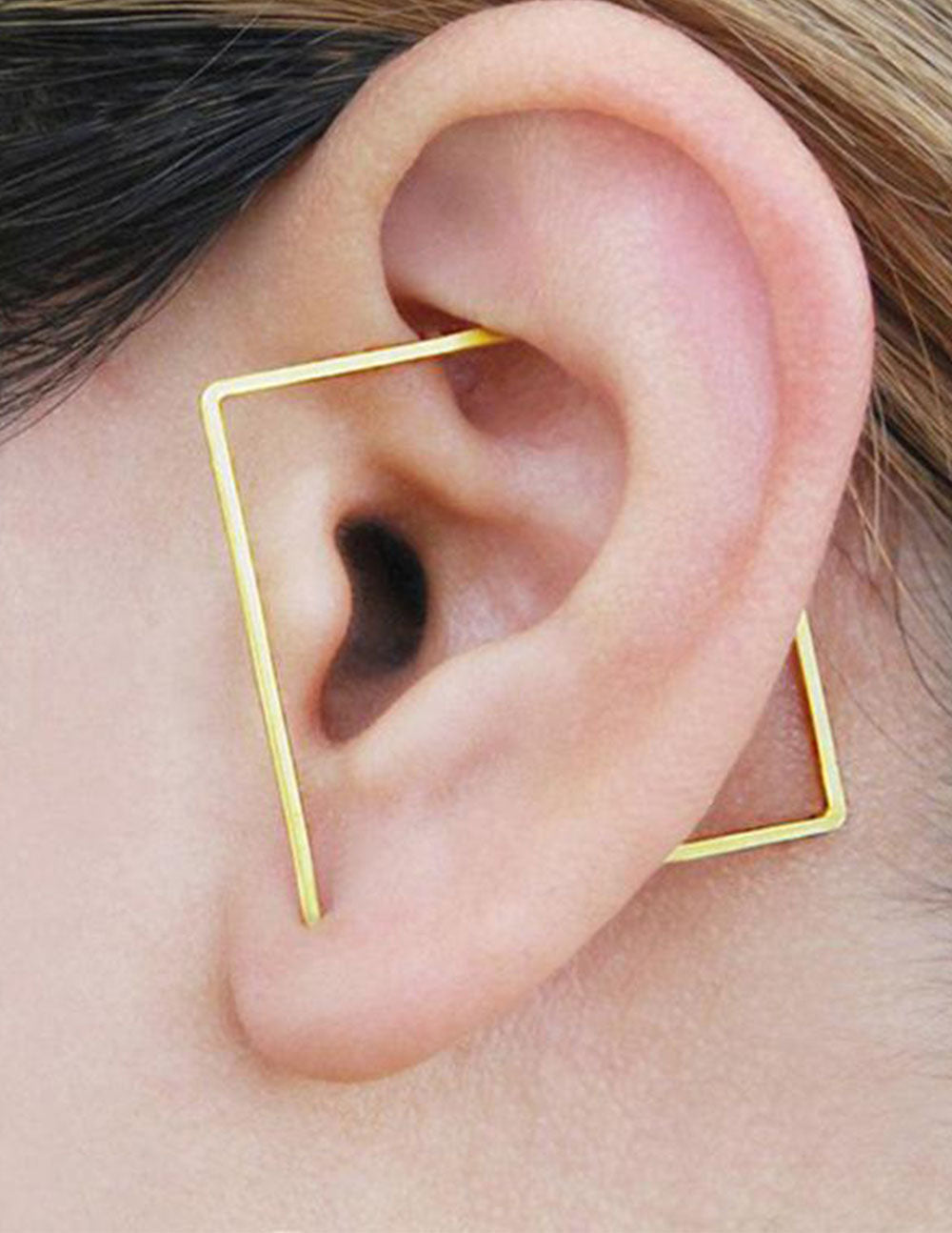 Square 14k Gold Ear Cuff