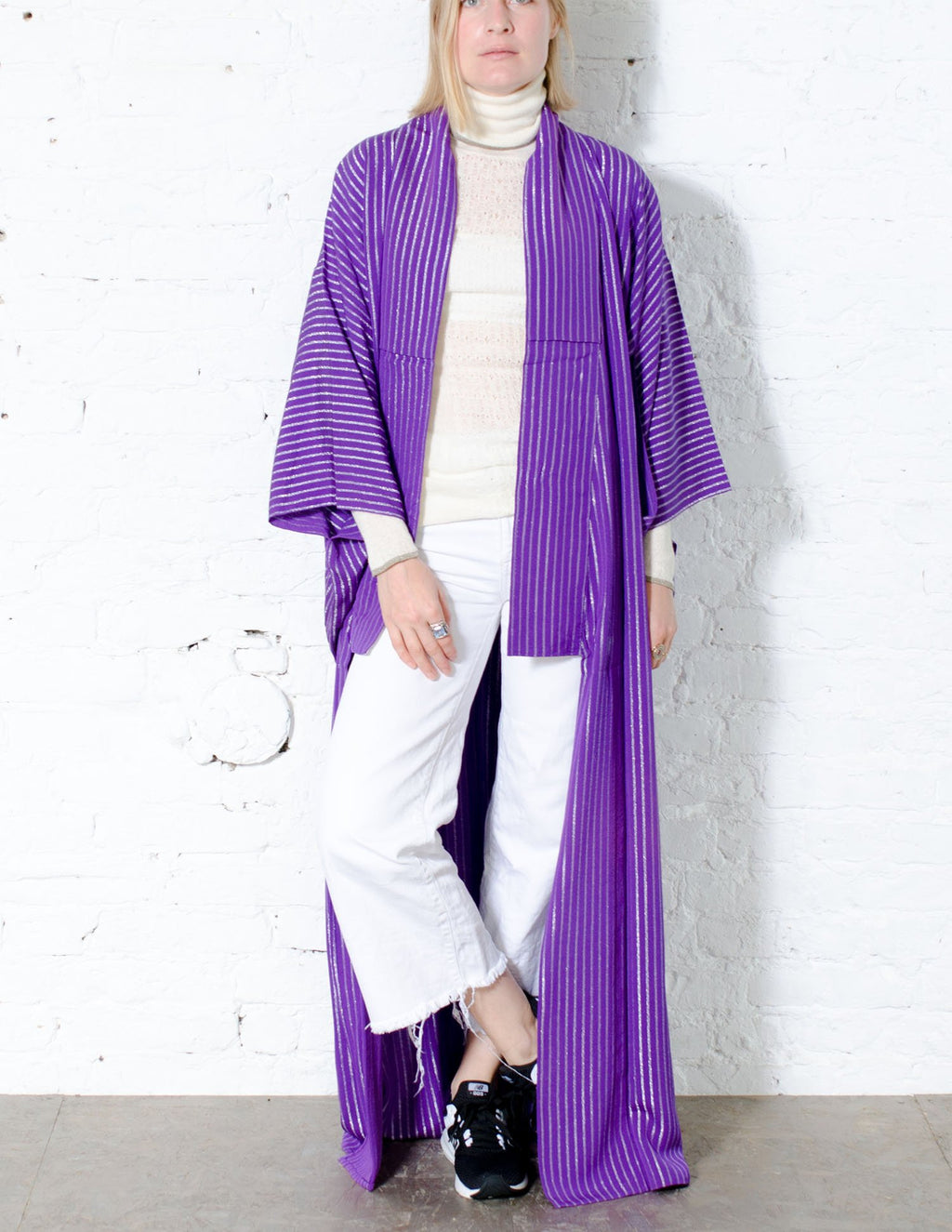 Striped Purple Silk Kimono Robe