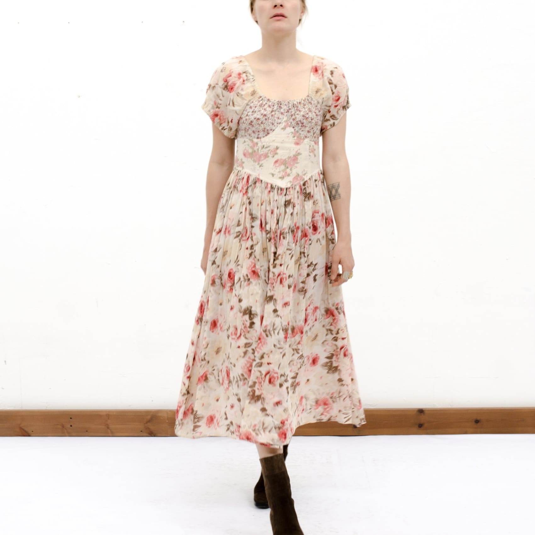 A Romantic Floral Print Sundress by Laura Ashley