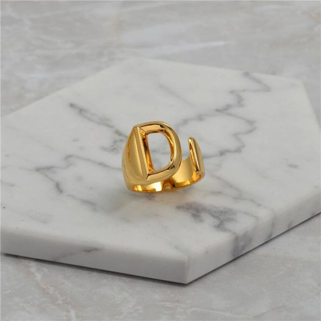 Alphabet Gold Tone Ring