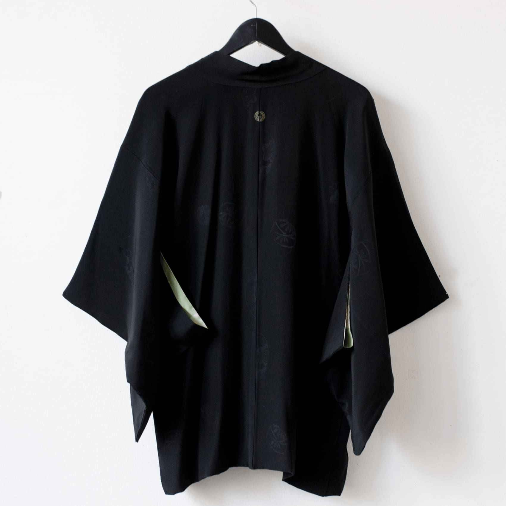 Antique 1920's Black Rinzu Silk Kimono Jacket