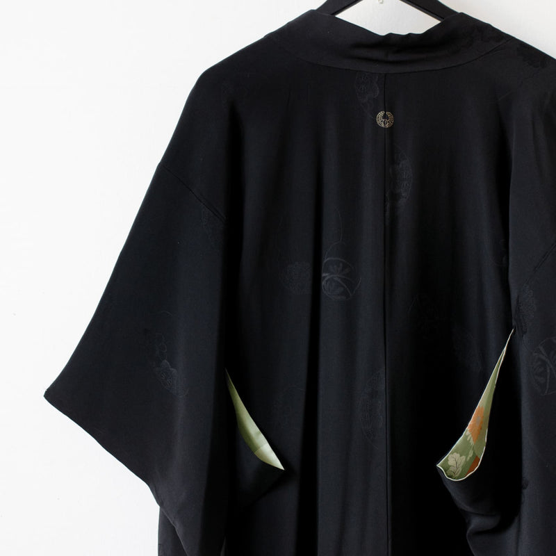 Antique 1920S Black Rinzu Silk Kimono Jacket