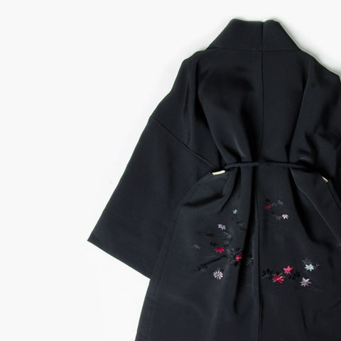 Black Silk Kimono Jacket with Delicate Floral Embroidery