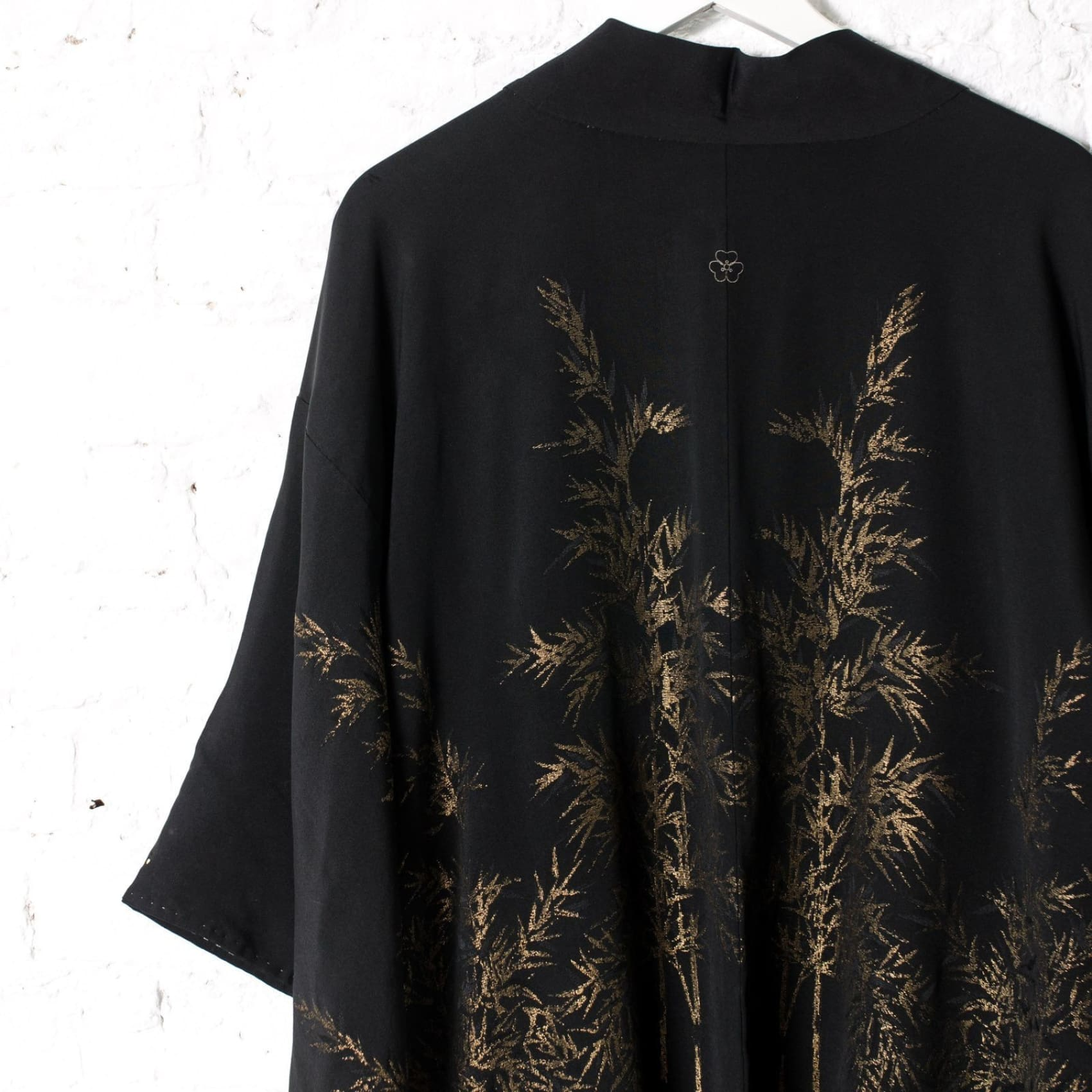 Black Silk Kimono Jacket with Golden Bamboo Embroidery