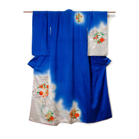 Blue Silk Kimono with Floral Details