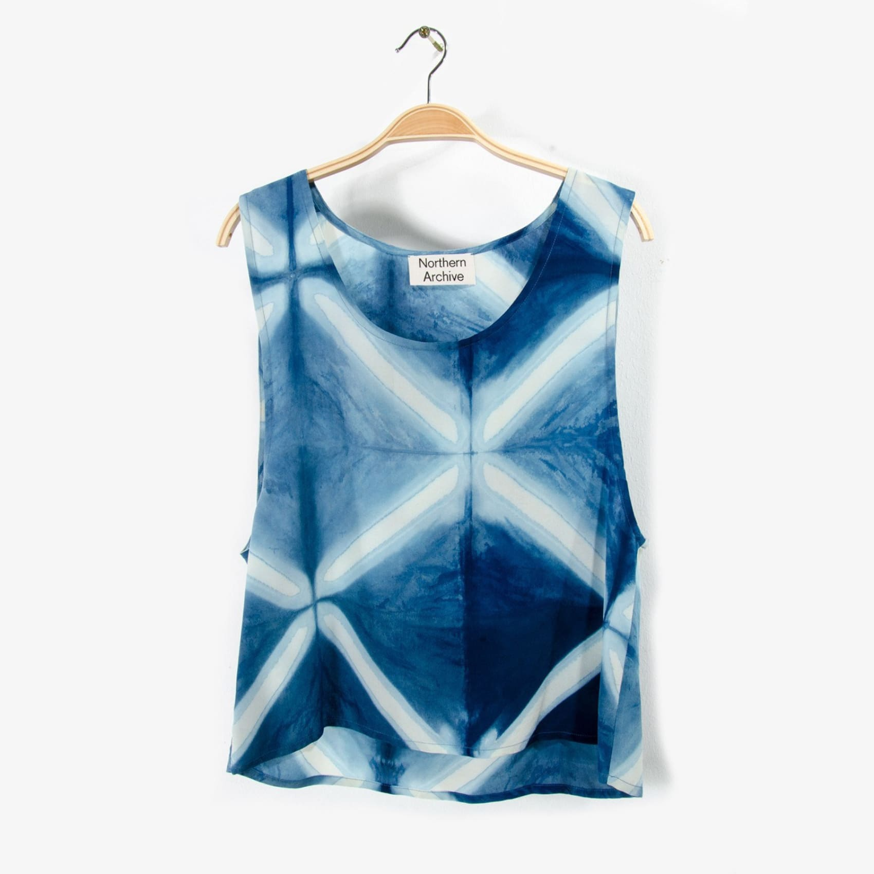 Cropped Silk Tank in Naturally Fermented Indigo