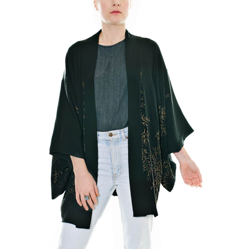 Embroidered Black Haori Jacket