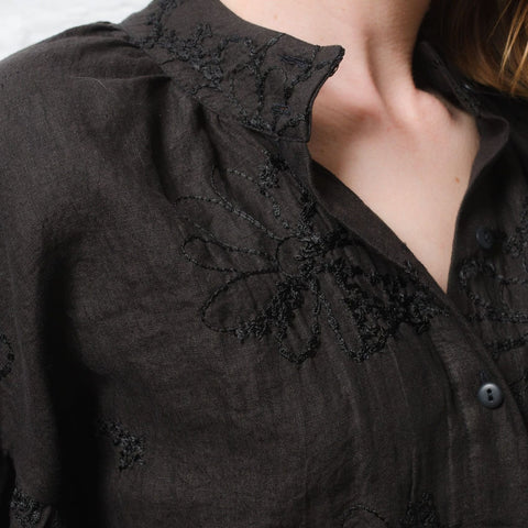 Embroidered Italian Linen Pillow Blouse