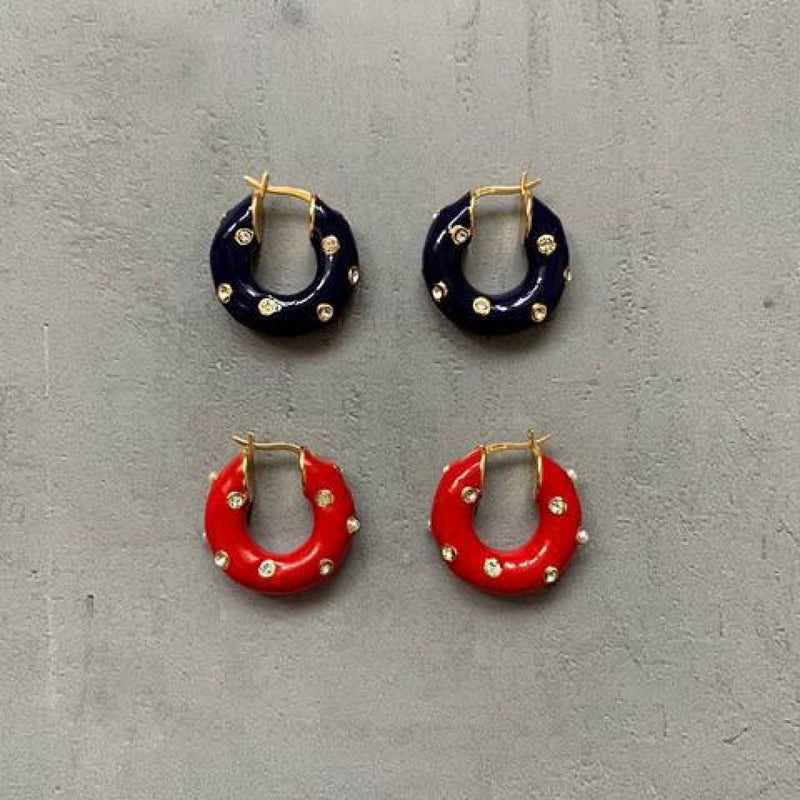 Enamel Hoop Earrings with Rhinestone Studs
