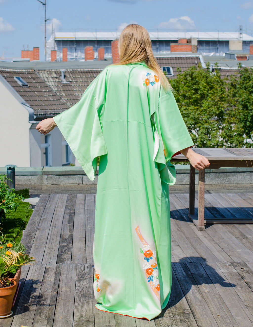 Hand Painted Mint Green Silk Kimono Robe