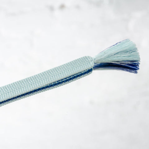 Hand Braided Two Tone Blue Silk Kimono Tie