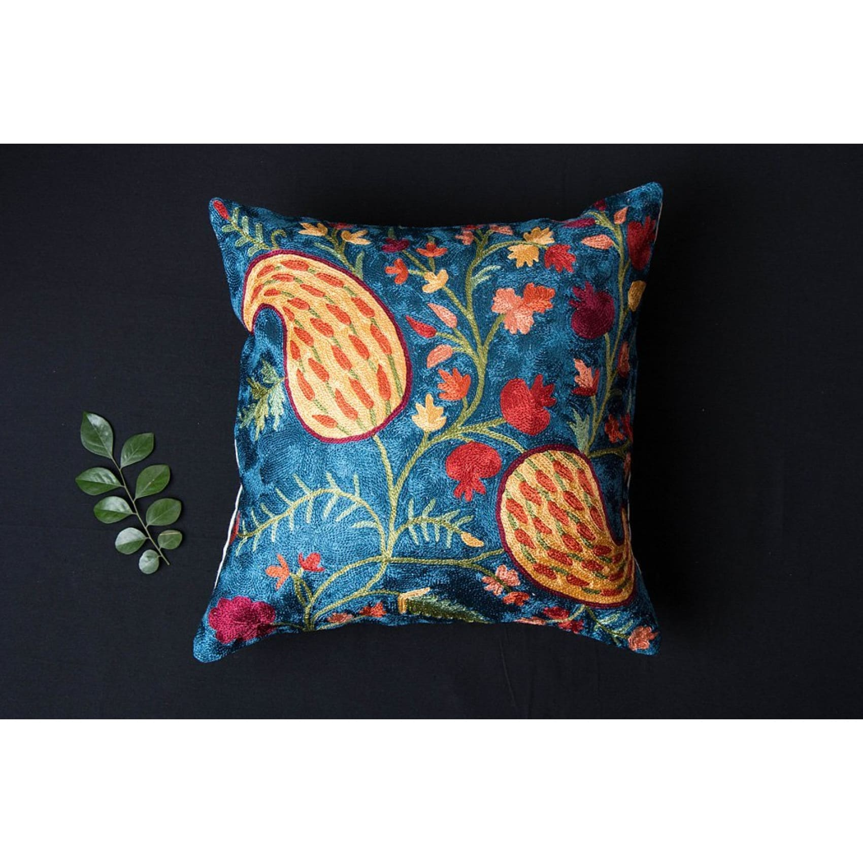 Hand Embroidered Silk Pillow