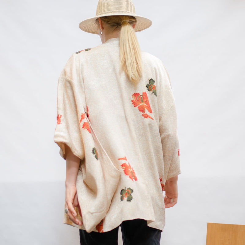 Japanese Kimono- Haori - Fawn Coloured 100% Silk With Floral Print
