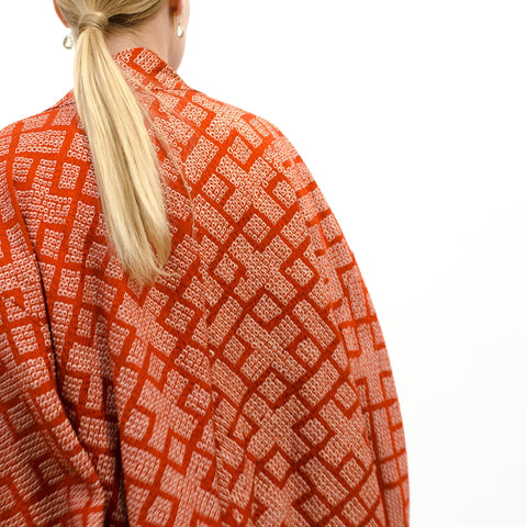 Japanese Kimono - Haori - Orange Shibori with Crosses
