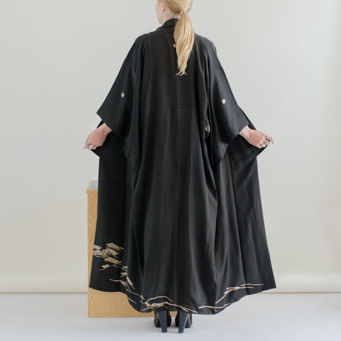 Japanese Kimono - Silk Robe - Black Silk with Hand Painted Detail on Back