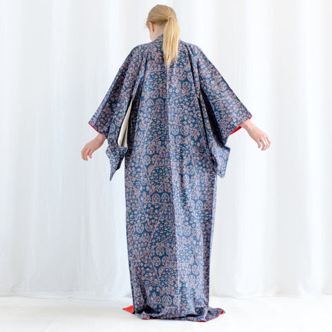 Japanese Kimono - Silk Robe - Blue with Miniature Floral Print