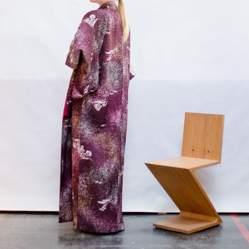 Japanese Kimono - Silk Robe - Purple Printed Silk