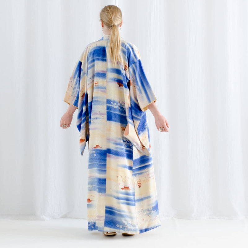 Japanese Kimono - Silk Robe - Watercolour Silk