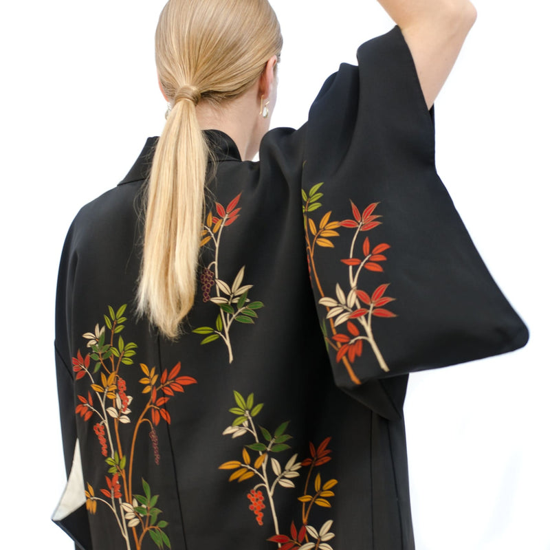 Kimono Jacket - Haori - Hand Embroidered And Painted Florals_H2018198