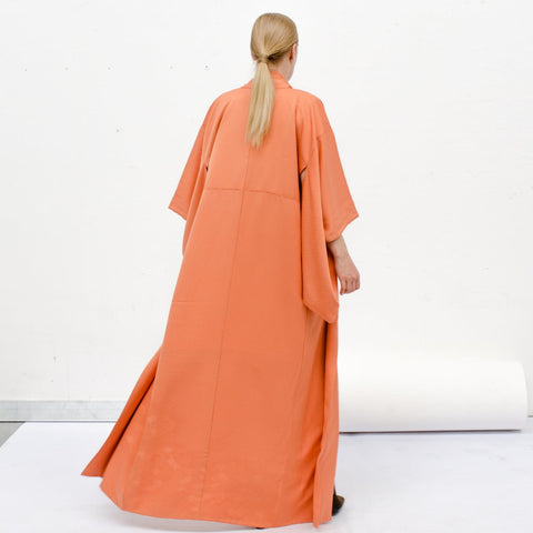 Kimono - Silk Robe - Orange Damask