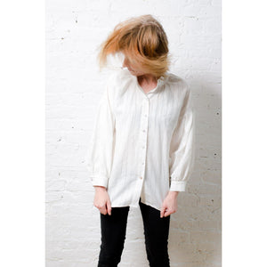 Northern Archive Off-White Cotton Linen Mix Pillow Blouse