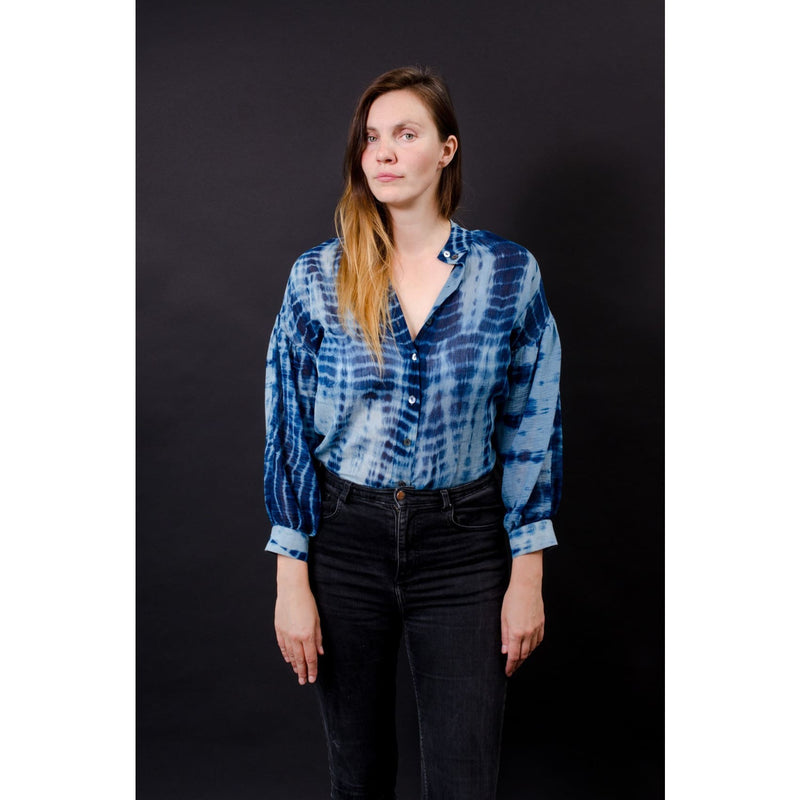 Pillow Blouse Dyed In Naturally Fermented Indigo