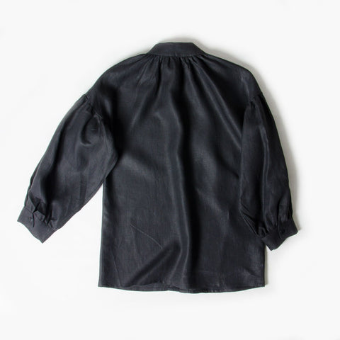 Pillow Blouse in 100% Black Linen