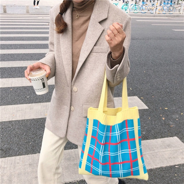Plaid Knitted Tote Bag